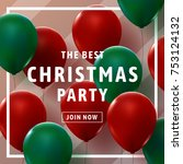 christmas party invitation card ... | Shutterstock .eps vector #753124132