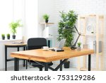 comfortable workplace in light... | Shutterstock . vector #753129286