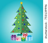 christmas tree with gifts on a...   Shutterstock .eps vector #753139996