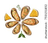 baked mussels with lemon and... | Shutterstock .eps vector #753151852