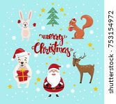 christmas characters set. hand... | Shutterstock .eps vector #753154972
