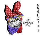 vector owl with glasses. hand... | Shutterstock .eps vector #753164785