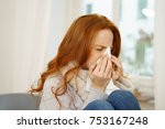 sick young woman with seasonal... | Shutterstock . vector #753167248