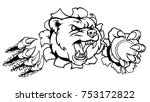 a bear angry animal sports... | Shutterstock .eps vector #753172822
