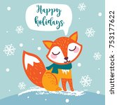christmas greeting card with... | Shutterstock .eps vector #753177622