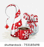 holidays vintage motive  red... | Shutterstock .eps vector #753185698
