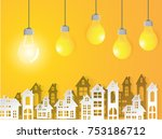 lamp business on yellow...   Shutterstock .eps vector #753186712