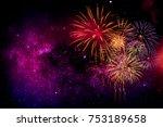 Fireworks With Blur Milky Way...