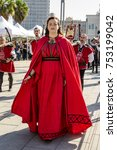 Small photo of CAGLIARI, ITALY - OCTOBER 28, 2017: Invitas, Sardinia of traditions, exhibitions and food at the Molo Sanità (parade of the feudal group Funtana Onnis of Guasila)