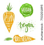 collection of hand drawn vegan... | Shutterstock .eps vector #753201895