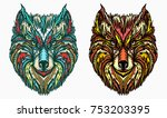 ornamental wolf head tattoo and ... | Shutterstock .eps vector #753203395