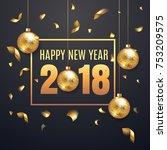 elegant happy new year 2018... | Shutterstock .eps vector #753209575