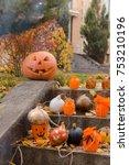 pumpkin  autumn leaves and... | Shutterstock . vector #753210196