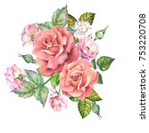watercolor roses bouquet | Shutterstock . vector #753220708