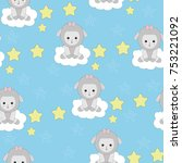 seamless pattern with cute... | Shutterstock .eps vector #753221092
