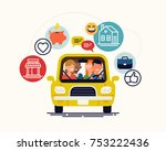 carpool  car sharing or lift... | Shutterstock .eps vector #753222436