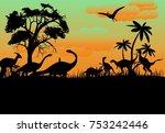 prehistoric vector landscape... | Shutterstock .eps vector #753242446