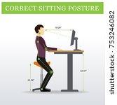 ergonomic. saddle sitting chair ... | Shutterstock .eps vector #753246082