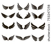 vector set of 12 pairs of black ... | Shutterstock .eps vector #753247258