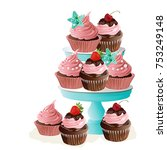 cupcakes on stand. birthday... | Shutterstock .eps vector #753249148