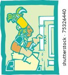 Mayan Temple style image of a plumber fixing pipes. - stock vector