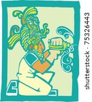 Mayan Temple style image of a workman with a drill - stock vector