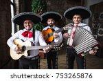 mexican musicians mariachi near ... | Shutterstock . vector #753265876