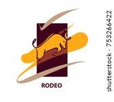 rodeo. silhouette of bull.... | Shutterstock .eps vector #753266422