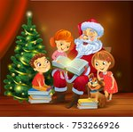 santa claus with kids reading...   Shutterstock .eps vector #753266926