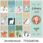holiday calendar with cute and... | Shutterstock .eps vector #753268246