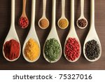 colorful spices in wooden... | Shutterstock . vector #75327016