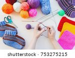 girl knits sock knitting... | Shutterstock . vector #753275215