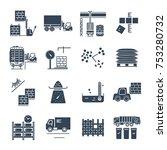 set of black icons warehousing  ... | Shutterstock .eps vector #753280732