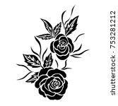 black rose flower tattoo ... | Shutterstock .eps vector #753281212