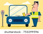 officer issues parking fine | Shutterstock .eps vector #753299596