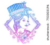 ancient egypt color tattoo.... | Shutterstock .eps vector #753303196