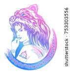 warrior woman color tattoo.... | Shutterstock .eps vector #753303556