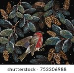 embroidery red bullfinch and... | Shutterstock .eps vector #753306988