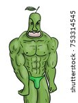 muscle pear man | Shutterstock . vector #753314545