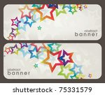 two abstract banners with stars