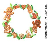 watercolor christmas wreath... | Shutterstock . vector #753324136