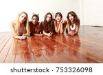 lifestyle shot of five multi... | Shutterstock . vector #753326098