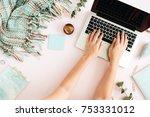 flat lay home office desk.... | Shutterstock . vector #753331012