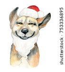 dog santa claus | Shutterstock . vector #753336895