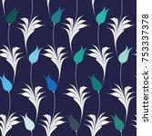 elegant iznik style tulips... | Shutterstock .eps vector #753337378