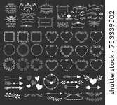 hand drawn frames  wreaths ... | Shutterstock .eps vector #753339502