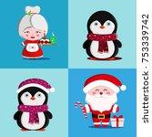set of cute christmas... | Shutterstock .eps vector #753339742
