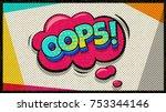 oops pop art vector cloud and... | Shutterstock .eps vector #753344146