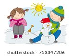cute little children  boy and... | Shutterstock .eps vector #753347206