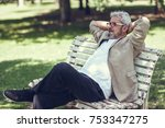 portrait of a pensive mature... | Shutterstock . vector #753347275